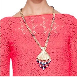 """LILLY PULITZER   """"Bomb Shell"""" Gold Tone Necklace"""